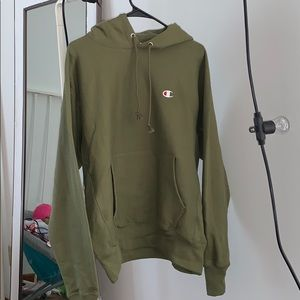 Olive green champion reverse weave hoodie
